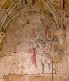 Mural dando muerte a Becket