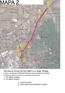 Mapa del recorrido del vertido