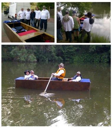 David con su barca y amigos