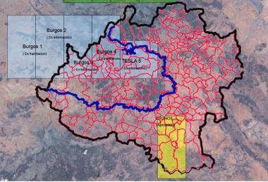 Mapa con los proyectos de fractura hidráulica en la provincia