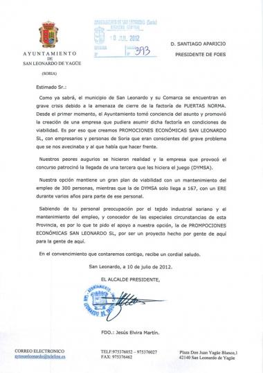 Carta remitida a Foes