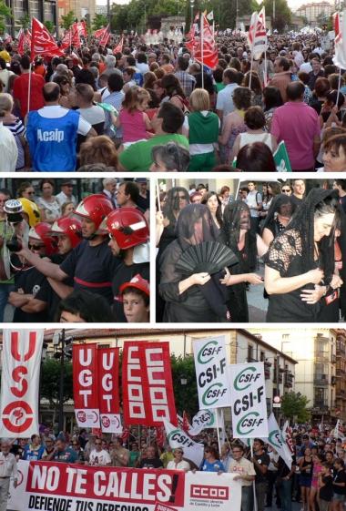 Aspecto de la plaza de Mariano Granados (arriba), bomberos en la manifestación, las 'viudas' de 'fallecida' sociedad del bienestar, y la cabecera de la marcha a la altura de la plaza de Herradores (abajo)