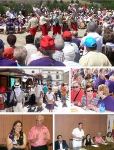 Actuación del grupo de danzantes de Casarejos (arriba); casetas de productos de la zona; comida; la alcaldesa de Garray recibe un regalo del presidente de la Federación de Casas de Soria; autoridades en la recepción realizada en el Consistorio