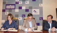 De izquierda a derecha, Pilar Sánchez (Cámara), Antonio Pardo y Martín Casado (Diputación).
