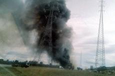 La gran columna de humo en uno de los momentos de mayor intensidad