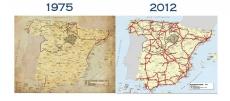Comparacion de las infraestructuras entre 1975 y 2012. Soria sigue igual de aislada.