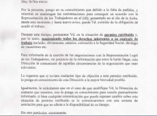 Carta enviada a los trabajadores