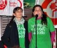 Representantes de STES en su discurso en la jornada del 14N
