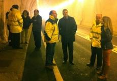 Bretón, de negro, en el túnel
