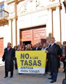 Letrados en su concentración ante los juzgados de la capital