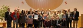 Los homenajeados en la Delegación