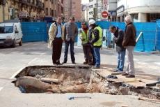 Obras en la avenida Navarra, cerrada al tráfico en en un tramo