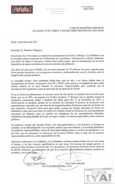 Carta enviada a Carlos Martínez