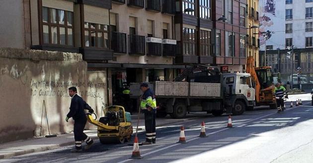 Labores de reparación en la calle