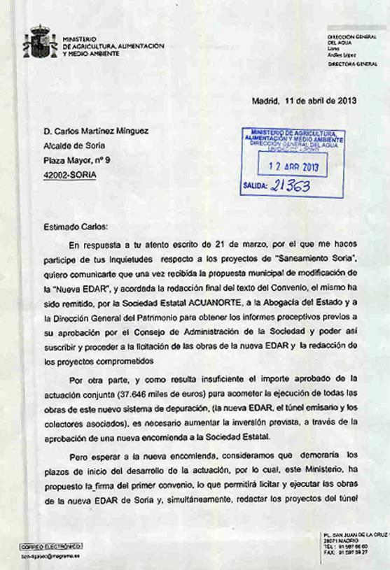 Carta del Ministerio al Ayuntamiento