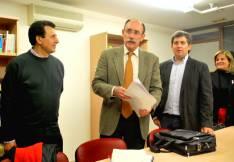 Lavilla (izda,), Bedera, Antón y Pérez en la sede del PSOE