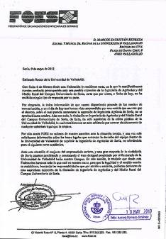 Burofax remitido al rector de la UVa