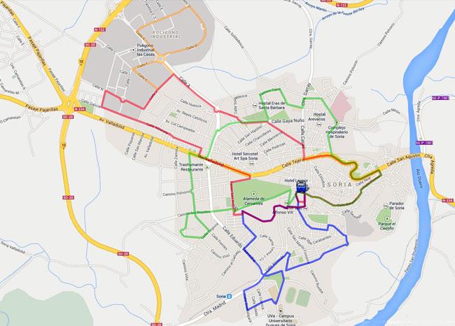 Mapa con los trazados de las líneas del transporte urbano de Soria (coloes rojo, azul y verde)
