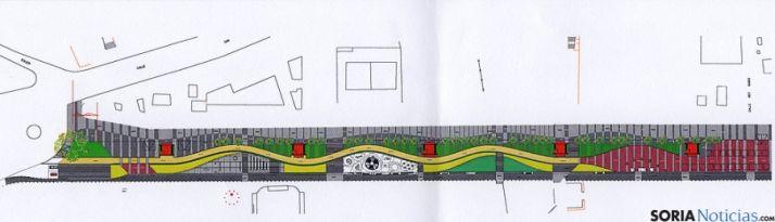 Retirada del tiovivo, ampliación de la acera paralela a la Dehesa y unificación del pavimento, reformas del proyecto del Espolón