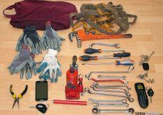 Herramientas confiscadas por la Policía ¨Nacional.