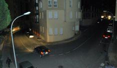 La calle Venerable Carabantes, con las farolas apagadas.