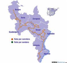 Mapa del itinerario del Destierro del Cid.