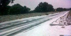 Carretera nevada en Soria el pasado año.