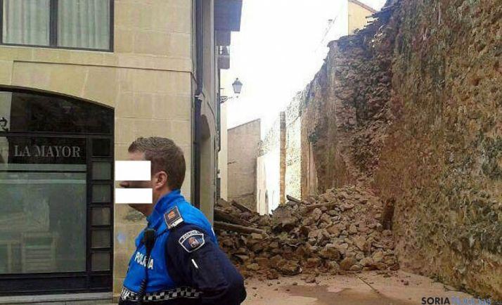 El paño de muralla tras su derrumbe en marzo.