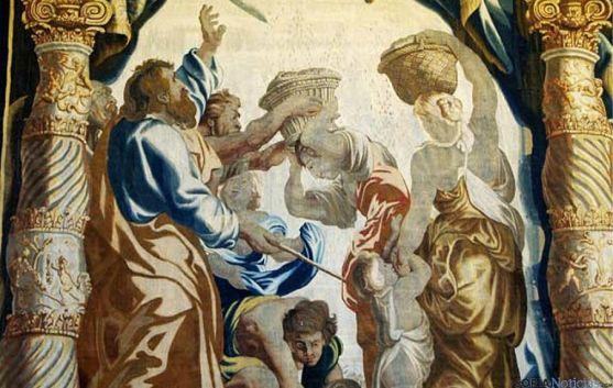 Detalle de uno de los tapices de Oncala.