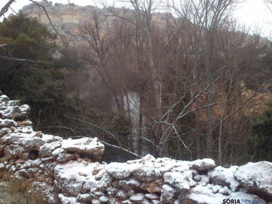 Aspecto de la cascada de La Toba este domingo