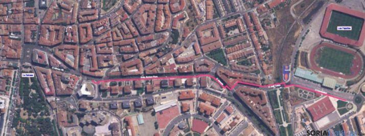 Trazado del carril bici entre Mariano Vicén y el Campus