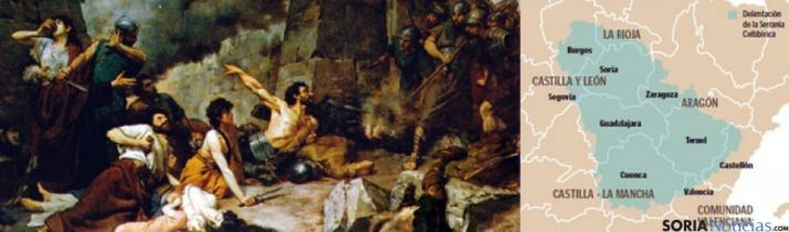 Detalle'del cuadro 'Últimos días de Numancia' y mapa de la Celtiberia  publicado por Heraldo de Aragón