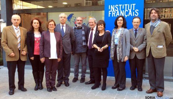 Representantes de las Ciudades Machadianas, hoy en Barcelona.