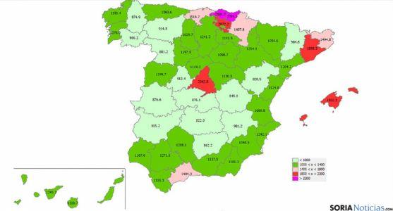 Precios medios de la vivienda en España.