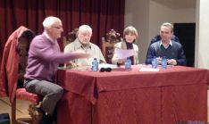 Palacios (izda.), Peña, Cacho y Sanz en la asamblea de la agrua