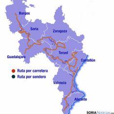 Mapa del itinerario turístico.