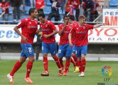 Celebración tras el gol de Vicente