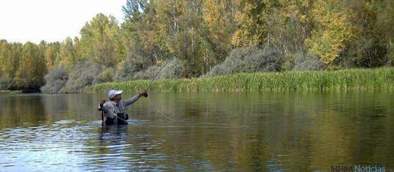 Un aficionado practicando la pesca en el Duero.