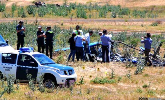 Escenario del impacto tras el accidente del ultraligero en Garray.