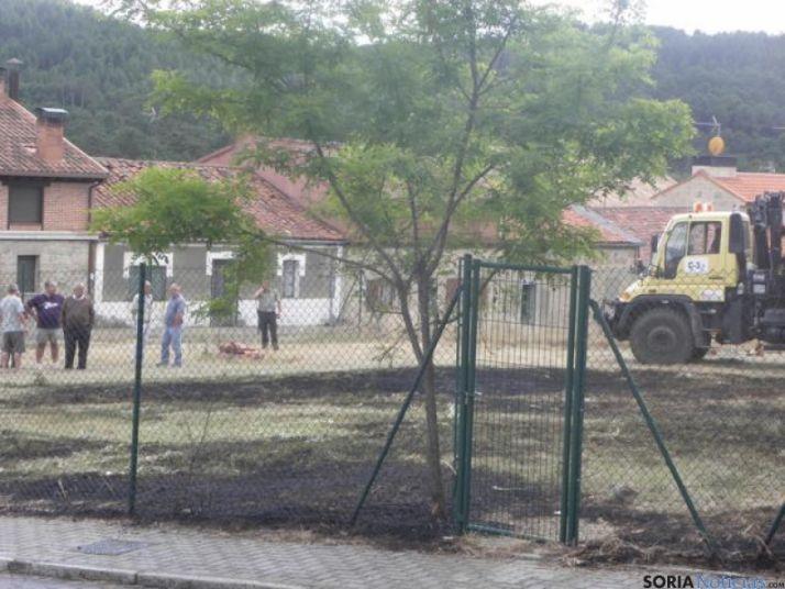 Foto 1 - El fuego causado por la chispa de una segadora afecta a una finca de Navaleno