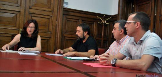 Heredia, (izda.), Moreno, Prieto y Lozano en la Subdelegación este martes. / SN
