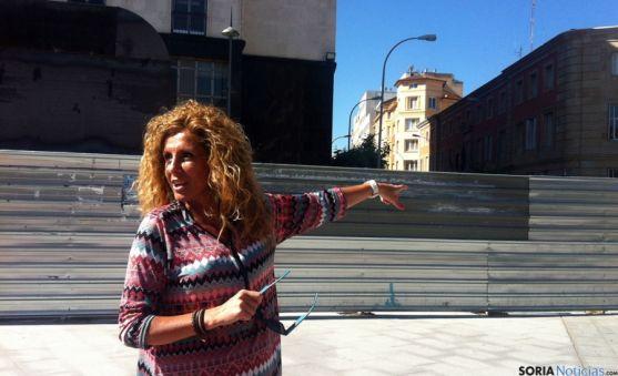 La concejal popular Valentina Liso, este miércoles en Mariano Granados.