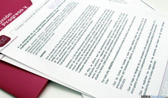 Escrito presentado por UPyD en las Cortes regionales.