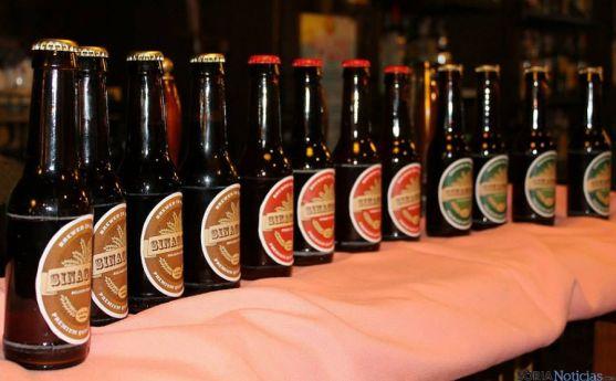 Botellines con los tres tipos de Cerveza Sinagoga, de Ágreda. / SN
