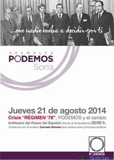 Cartel de la asamblea de Podemos Soria