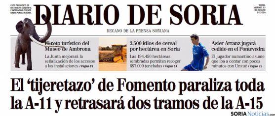 Portada de Diario de Soria el 13 de agosto de 2010. / Diario de Soria