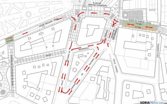 Nueva disposición del tráfico en el centro de Soria. / Ayto