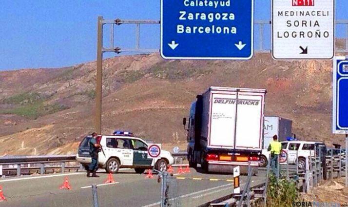Operativo en la A-15 en Medinaceli. / SN