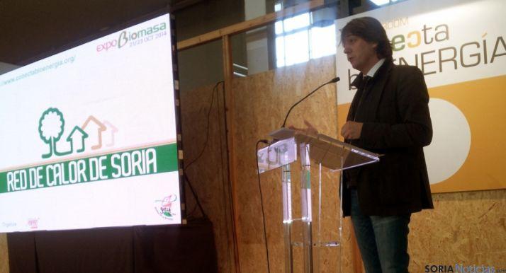 Mínguez durante su intervención en Expobiomasa. / REBI