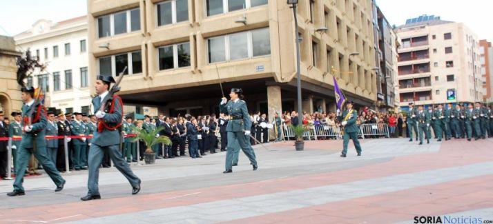 Un momento del desfile este mediodía en la capital. / SN